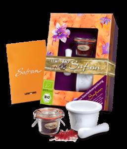 Bio Safran n Negin Qualität als Geschenk-Set mit Safran Mörser und Safran Rezepten